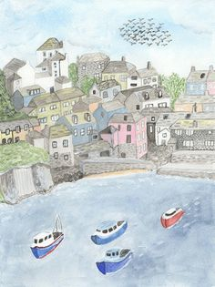 TITLE: Port Isaac, Cornwall SIZE: A5 and A4 - Unframed art print of my original watercolour painting Printed on beautiful Bockingford 190g paper which has been specially designed for printing artwork. All prints have a small white border. Each print is signed and dated by the artist and are carefully packed in a clear sleeve and a hard backed envelope to ensure it arrives in pristine condition. Artwork © Sarah Frances. http://www.sarahfrances.co.uk https://twitter.com&#x...