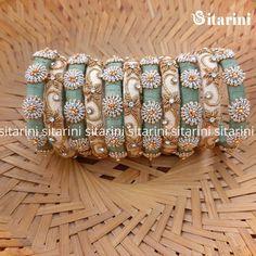Accessories by Sitarini ( Silk Thread Bangles Design, Silk Bangles, Gold Bangles Design, Bridal Bangles, Thread Jewellery, Beaded Jewelry, Handmade Jewelry, Jewelry Design, Indian Dress Up