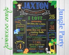 First Birthday Chalkboard - Jungle Party - Green, Orange and Yellow  - Baby's First Birthday - Boy or Girl