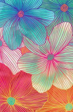".""Between the Lines - tropical flowers in pink, orange, blue & mint"" ... art print by Micklyn"