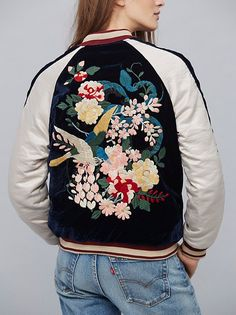 Floral Embroidered Bomber | Silky heavyweight bomber jacket with gorgeous floral embroidered details and stylish velvet accents. Ribbed material at the sleeve cuffs and collar.