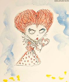 Tim Burton's sketches for Alice in Wonderland - red queen