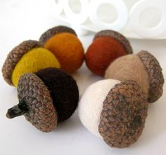 Needle Wool Felted 6 Natural Acorns in Autumn Shades by FeltVille, $12.00