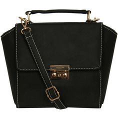 Pilot Olivia Front Clasp Detail Winged Bag ($22) ❤ liked on Polyvore featuring bags, handbags, black, clasp closure handbags, top handle bag, hand bags, top handle handbags and black top handle handbag