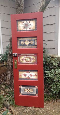 Wood door hand painted vintage antique queen by OneInAMillionFinds, $295.00
