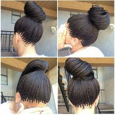 How to style the box braids? Tucked in a low or high ponytail, in a tight or blurry bun, or in a semi-tail, the box braids can be styled in many different ways. Micro Braids Hairstyles, African Hairstyles, Girl Hairstyles, Teenage Hairstyles, Easy Hairstyles, Formal Hairstyles, Black Hairstyles, Individual Braids Hairstyles, Havana Twist Hairstyles