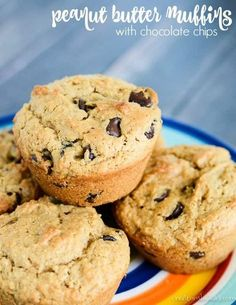 Peanut Butter Muffins with chocolate chips - these tasty muffins have plenty of peanut butter flavor! Chocolate chips make them even tastier. #peanutbuttermuffins #chocolatechippeanutbuttermuffins #muffins #muffinrecipe #peanutbutter #creationsbykara Healthy Cake Recipes, Best Dessert Recipes, Muffin Recipes, Fun Desserts, Baking Recipes, Breakfast Recipes, Breakfast Ideas, Simple Recipes, Chef Recipes