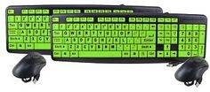 13 Deals - 2 Pack of EZ Eyes Deluxe Glow-in-Dark, Large Print, Spill Proof Keyboard & Mouse (2 Keyboards & 2 Mice!) - SHIPS FRE