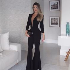 Women's Fashion Long Sleeve Pure Color Hollow Out Belted Jumpsuit Sexy Outfits, Classy Outfits, Stylish Outfits, Fashion Outfits, Womens Fashion, Fiesta Outfit, Look Street Style, Fashion Corner, Elegant Outfit