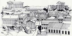 1] Temple of Vesta: 2] Regia, residence of pontifex maximus, formerly home of the kings: 3] Rostra (speakers' platform): 4] Curia (senate house): 5] Temple of Julius Caesar: 6] Temple of Castor and Pollux (rebuilt by Augustus): 7] Basilica Julia (built by Julius Caesar as an exchange and for judicial tribunals): 8] Temple of Jupiter on the Capitoline Hill: 9] Temple of Juno Moneta: 10] Temple of Jupiter Capitolinus: 11] Forum.