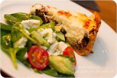 Köttfärspaj LC / LCHF - 56kilo - Inspiration, mode och matglädje. Lchf, Fritters, Low Carb, Chicken, Baking, Dinner, Breakfast, Ethnic Recipes, Inspiration