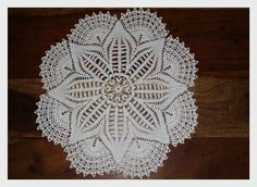 pretty doily, wonder if I could figure out the pattern? HAND CRAFTED VINTAGE DOILY CROCHET WHITE TABLE MAT SIZE- 40cm/16inch NEW | eBay Crochet Table Mat, Crochet Doilies, Crochet Ideas, Design Inspiration, Pretty, Pattern, Crafts, Ebay, Vintage