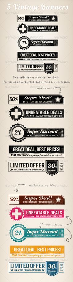 5 Vintage Retro Banners — Photoshop PSD #grunge #retro • Available here → https://graphicriver.net/item/5-vintage-retro-banners/3035353?ref=pxcr