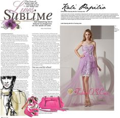 """Lavender Strapless High-low Taffeta and Tulle Prom Dress with White Appliques"" by fancydressesforyou ❤ liked on Polyvore"