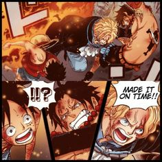 Oda drew Sabo saving Ace and Luffy from Akainu *Special Page for the Anniversary. Awwwwwwwww AWWWWWWWW if only would have happened man One Piece Manga, Ace One Piece, One Piece Funny, One Piece World, One Piece Comic, Manga Anime, Film Manga, One Piece Wallpapers, Animes Wallpapers