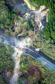 A huge landslide collapsed the bank of a river and sent water flooding down the hillside in Kumamoto, Japan