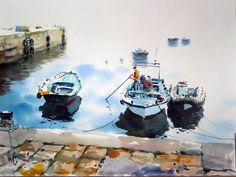 Crete, Watercolor Paintings, Places To Visit, Landscape, Ideas, Canisters, Boats, Paintings, Heavens