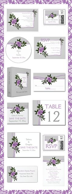 Violet purple wild rose, grey floral wedding invitations and matching stationery.