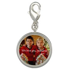 Personalized Silver Round Style Charm For Grandma