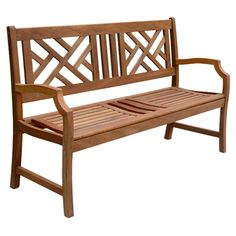Indoor/outdoor eucalyptus wood bench with a cut-out design.Indoor/outdoor eucalyptus wood bench with a cut-out design.   Product: Gard...