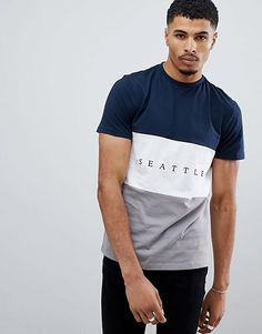 New Look t-shirt with Seattle embrodiery in gray Look T Shirt, Shirt Style, Boys Shirts, Tee Shirts, Tees, Casual T Shirts, Men Casual, Moda Peru, Buy T Shirts Online