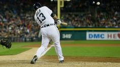 Alex Avila swings and hits a home run in the eighth as the tigers win over the Indians 5-4