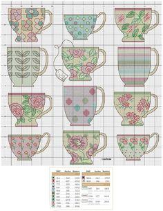 0 point de croix grille et couleurs de fils tasses et mugs