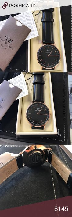 Daniel Wellington Black and Rose Gold Watch Beautiful Daniel Wellington Black and rose Gold Watch! With genuine leather band! 100% Authentic. Comes with box and papers! BRAND NEW! 2 years warranty. The watch face is 40mm. Thanks for stopping by! :) Daniel Wellington Accessories Watches