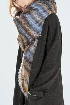 Striped Tassel Decorated Faux Cashmere Scarf