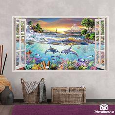 Compra vinilos de ventanas diferentes en Teleadhesivo Tapestry, Night, Artwork, Decals, Painting, Home Decor, Canvases, Murals, Open Window