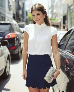 White blouse, navy blue shirt and silver clutch Chic Outfits, Summer Outfits, Fashion Outfits, Womens Fashion, Fashion Trends, Skirt Outfits, Dress Skirt, Dress Up, Work Attire