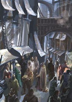 Medieval Market, Fantasy Landscape, Marketing Tools, Business Women, Illustration, Painting, Art, Art Background, Painting Art