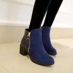 quality design aa65e 699c2 PU Chunky Heel Patchwork Round Toe Ankle Boots