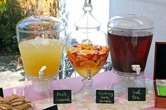 Tea party wedding shower inspiration - use some of these ideas during our cocktail hour! Mmmm and maybe pink lemonade!