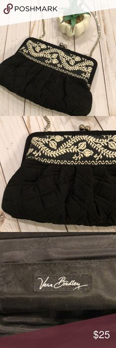 Vera Bradley Embroidered Black Evening Bag Great little Black Quilted bag with embroidered stitching. Silver chain strap. EUC, 8.5x6.25. Hangs 15inches Vera Bradley Bags