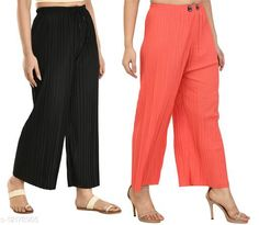 Checkout this latest Palazzos Product Name: *Gladly Women's Solid beautifull Pallazzos for women and Girls 2Pcs Combo* Fabric: Polyester Pattern: Textured Multipack: 2 Sizes:  28 (Waist Size: 28 in, Length Size: 37 in)  30 (Waist Size: 30 in, Length Size: 37 in)  32 (Waist Size: 32 in, Length Size: 37 in)  34 (Waist Size: 34 in, Length Size: 37 in)  36, 38 Easy Returns Available In Case Of Any Issue   Catalog Rating: ★4 (380)  Catalog Name: Fancy Fabulous Women Palazzos CatalogID_2330673 C79-SC1039 Code: 544-12178905-6711