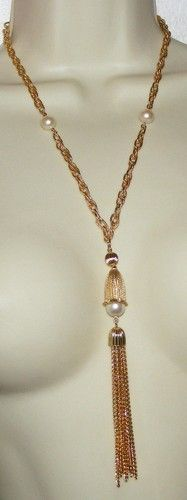 Vintage Goldtone Chain Necklace with Tassel Faux Pearls Costume Jewelry | eBay