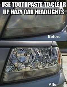 Toothpaste to clean headlights, white toothpaste with or without baking soda I'm guessing ( not a gel ) place toothpaste on lights in circular motions, scrub with old toothbrush, cloth, or paper towels, or even a soft scrub brush until you see the dirt / grime start to come off, Rinse with water, repeat if necessary.
