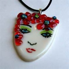Fused glass art bead (Lady in Red) Etsy