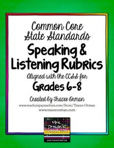 Common Core Speaking & Listening Rubrics Bundle for Grades 6-8