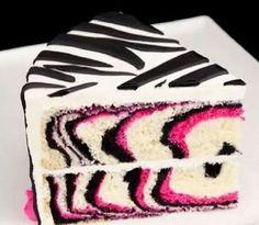 Zebra print cake.- like the pink inside the cake.