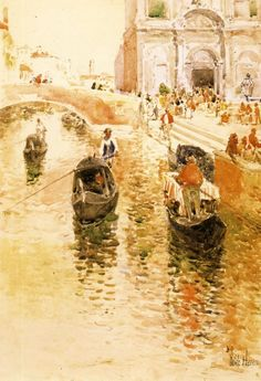 Gondoliers by Frederick Childe   Oh, I can hear the music. Aah! The romance pictured here. The paddles gently moving us along. WHAT ! Wake up it is just a dream ! !
