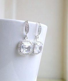 Wedding Jewelry Bridal Earrings Cushion Cut Cubic by SomsStudio, $45.00