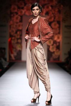 Brown textured cape jacket with crystal beige dhoti pants available only at Pernia's Pop Up Shop.