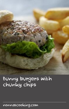 Bunny burgers with chunky chips |      This is a great recipe if you haven't tried rabbit before - juicy rabbit burgers with homemade chips.