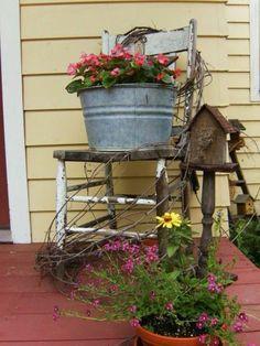 54 Gorgeous Rustic Farmhouse Porch Design Ideas - Decorating tips - Garden Chair Porch Garden, Garden Chairs, Garden Art, Garden Design, Garden Ideas, Cottage Porch, Backyard Ideas, Garden Types, Pergola Ideas