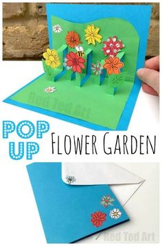 3d flower card diy pop up cards for kids negle Image collections