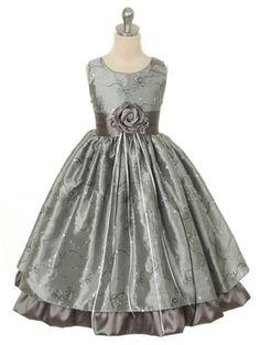 Khaki Lovely Soft Georgette Flower Girl Dress