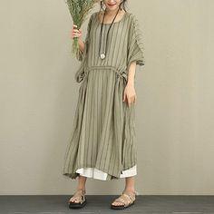 Women Stripe Lacing Slim Splitting Retro Khaki Dress - Buykud Vestito  Cachi 3cfd36f5aa69
