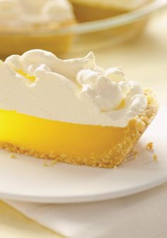 "Easy Lemon ""Meringue"" Pie — It's not exactly a lemon meringue pie. Rather, it's a luscious lemon pie with a cookie crust and a yummy, easy-to-make marshmallow-COOL WHIP topping. (Favorite Desserts Cool Whip)"